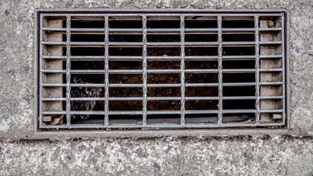 Sewer cover or storm drain in street