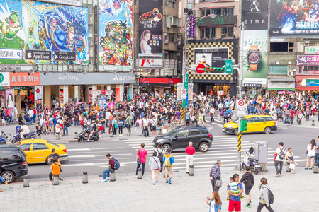 shopping scene: TAIPEI, TAIWAN - MAY 10, Crowds in Ximending District, Taipei, Taiwan. Ximen is a center of fashion and culture for young people.