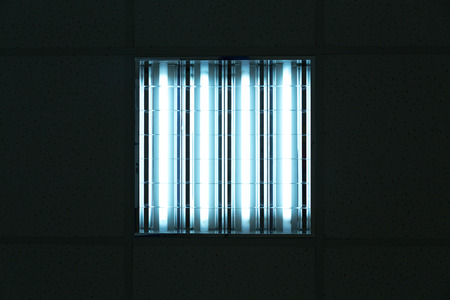 electric fixture: Fluorescent ceiling lights in an office