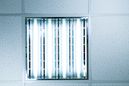 Fluorescent ceiling lights in an office