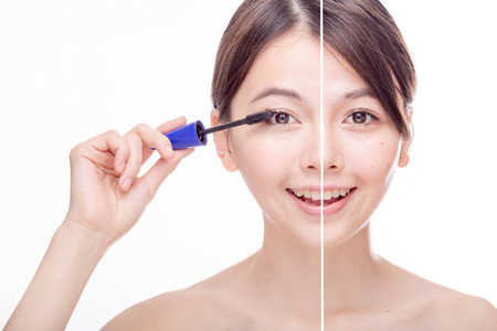 look after: Asian womans face, beauty concept, before and after while applying mascara makeup