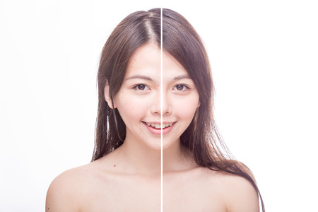 aging: Asian womans face, beauty concept, before and after Stock Photo