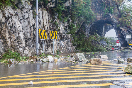 Fallen rocks and debri caused by typhoon