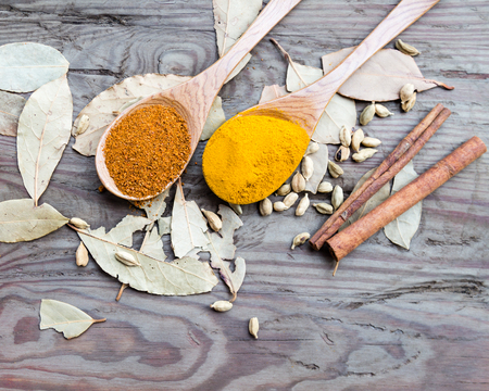 curry powder: Curry powder in spoons laid out in spoons with cinnamon sticks Stock Photo