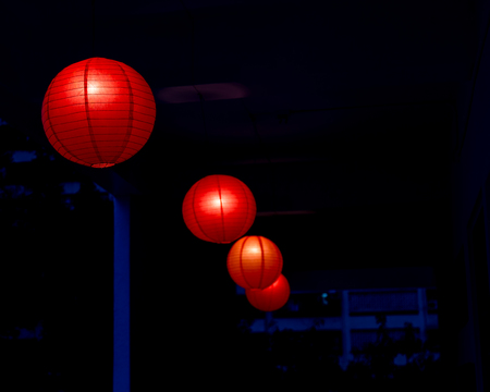 chinese tradition: Row of red Chinese lanterns hanging