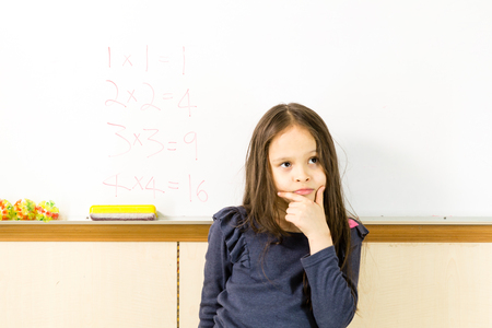 asian american: Asian American schoolgirl in class, thinking about math