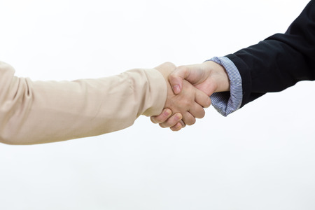 people shaking hands: Businesswoman in casual office clothes shaking hands