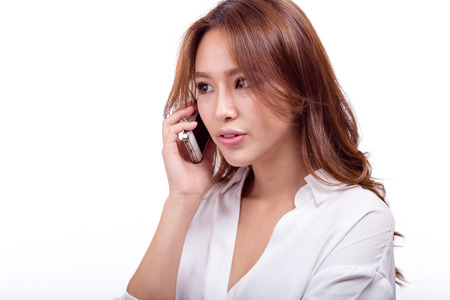 chinese american ethnicity: Asian American woman talking on smartphone