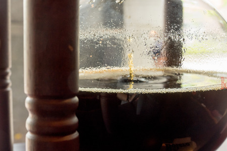 cold: Coffee in wooden cold brew drip