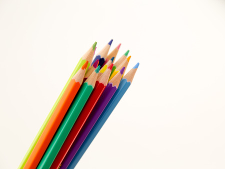 Colorful group of pencil crayons on a white background Stock Photo