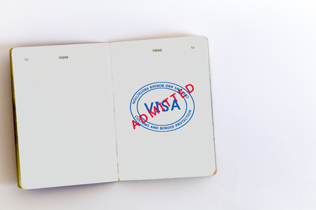 customs official: Visa admitted customs stamps in passport, original design  elements Stock Photo