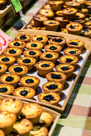 Taiwanese baked egg tart  on display at a snight market stall