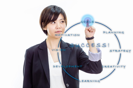 Chinese businesswoman in casual office clothes pressing virtual unseen interface for success strategy