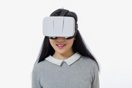 Teenage girl wearing 3D  VR goggles