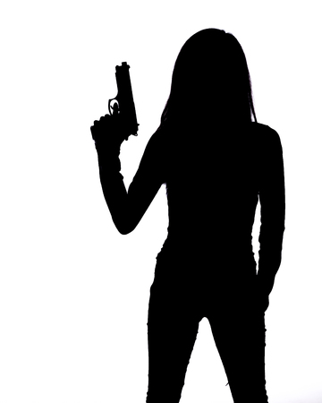 Silhouette of woman with pistol on white background