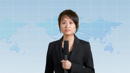 Asian American female news anchor in studio with map background, TV news concept Imagens - 88397045