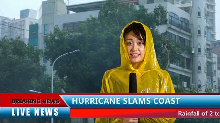 Asian American weather reporter live report in storm Zdjęcie Seryjne