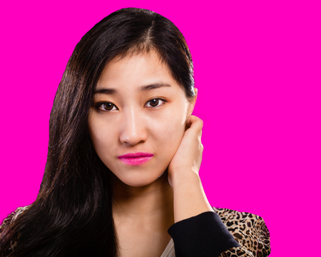 Asian fashion model with  pink background