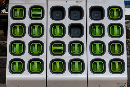 Taipei, Taiwan - Dec 1, 2018: Charging station for battery packs of Taiwan-based Gogoro electronic scooters Redakční