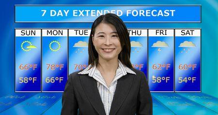 Female Asian American meteorologist reporting weather, original design elements Standard-Bild