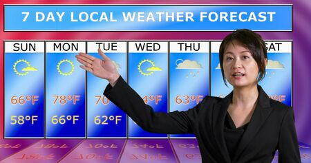 Female Asian American meteorologist gestures to weather chart, original design elements Standard-Bild - 140686423