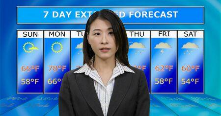 Female Asian American meteorologist reporting weather, original design elements Standard-Bild - 140686424