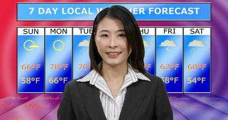Female Asian American meteorologist reporting weather, original design elements Standard-Bild - 140686427