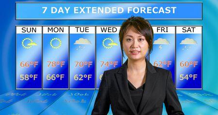 Female Asian American meteorologist reporting weather, original design elements Standard-Bild - 140686430
