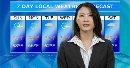 Female Asian American meteorologist reporting weather, original design elements Stock Photo