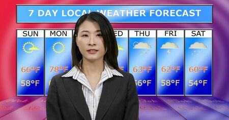 Female Asian American meteorologist reporting weather, original design elements Foto de archivo