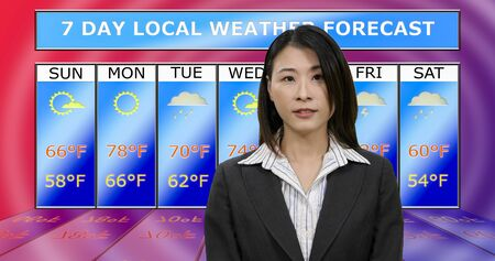 Female Asian American meteorologist reporting weather, original design elements Standard-Bild - 140686438