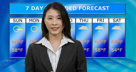 Female Asian American meteorologist reporting weather, original design elements Standard-Bild - 140686439