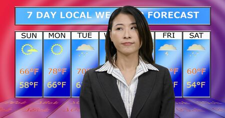 Female Asian American meteorologist reporting weather, original design elements Stock Photo - 140686440
