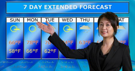 Female Asian American meteorologist gestures to weather chart, original design elements Stock Photo - 140686441