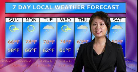 Female Asian American meteorologist reporting weather, original design elements Stock Photo - 140686443