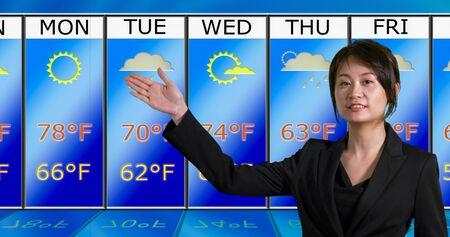 Female Asian American meteorologist gestures to weather chart, original design elements
