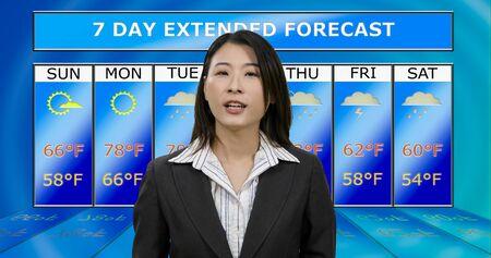 Female Asian American meteorologist reporting weather, original design elements Editorial