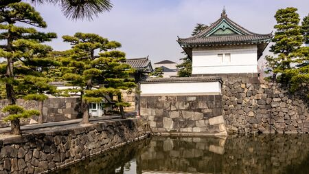 Guard tower over moat by Kikyomon Gate at Tokyo Imperial Palace Japan Editorial