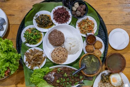 Selection of various Shan style dishes in Myanmar