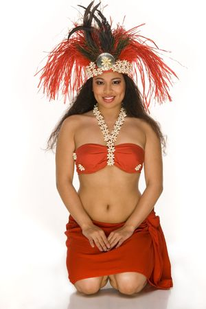 Islander young woman in Tahitian dancing feather headdress