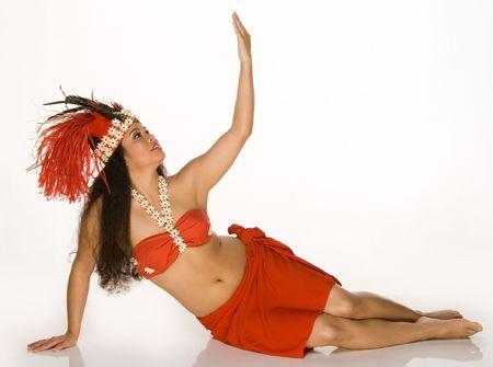tahitian: Islander young woman in Tahitian dancing feather headdress