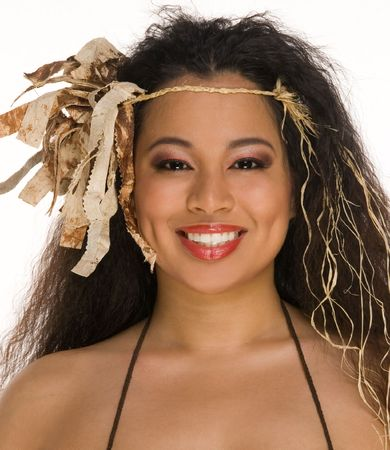 tahitian: Attractive young woman in ethnic Tahitian outfit Stock Photo