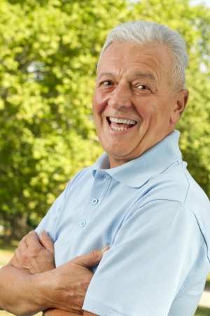 Senior men posing outdoors arms crossed Stock Photo - 13686873