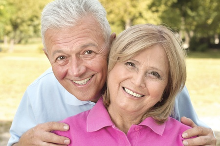 Senior couple posing outdoors Stock Photo - 13686874
