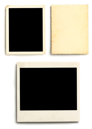 Three photographs isolated on white background