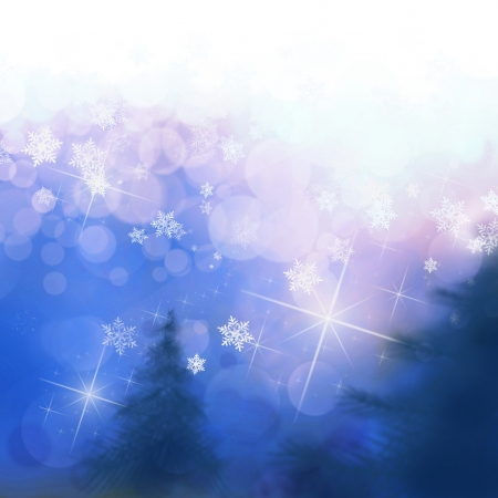 Abstract Christmas landscape scene with trees and flakes Stock Photo - 16585045