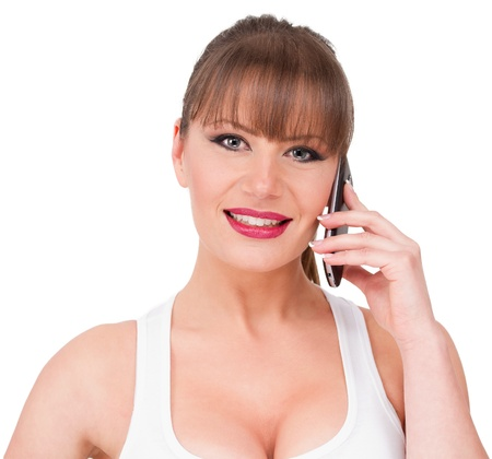 nice breast: Attractive young female model talk on the phone Stock Photo