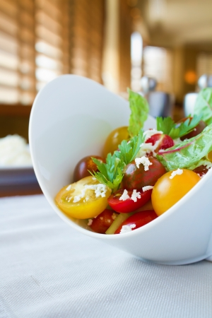 Fresh tomato salad with green leafs and cottage cheese. Restaurant shot photo