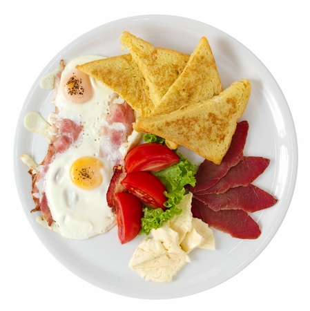 overhead shot: Traditional breakfast served with fresh salad and french toast  Overhead shot