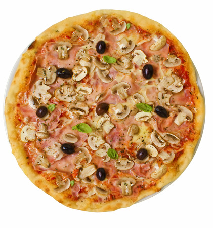 Isolated rustic thin crust pizza with pelato sauce, mozzarella, ham, mushrooms, olives and fresh basil